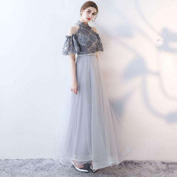 2018 chic a-line high neck tulle applique long prom dress evening dress,HS142