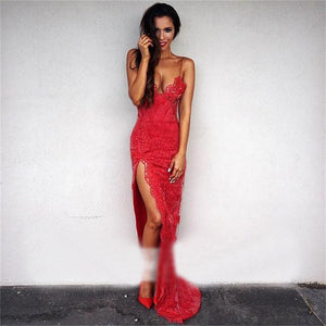 Red Lace Sexy Side Split Spaghetti Straps Formal Prom Dresses, Most Popular Prom Dress,HS144