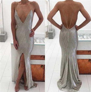 Silver Spaghetti Chic Front Slit Mermaid Prom Dresses, Popular Evening Dresses,HS145