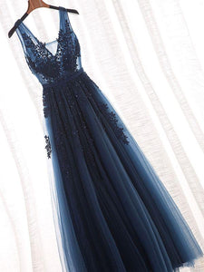 v-neck a-line long prom dress tulle applique beaded evening dress,HS146