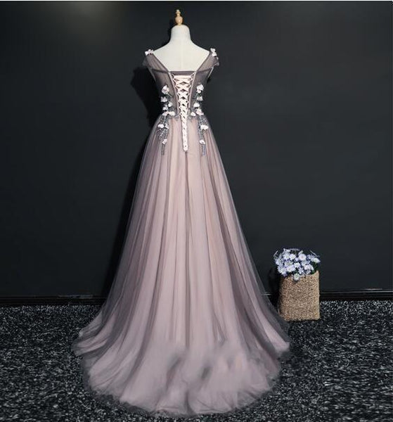 A-line Tulle Lace Appliques Floor-length Newest Prom Dress, Ball Gown, Prom Gowns,HS148