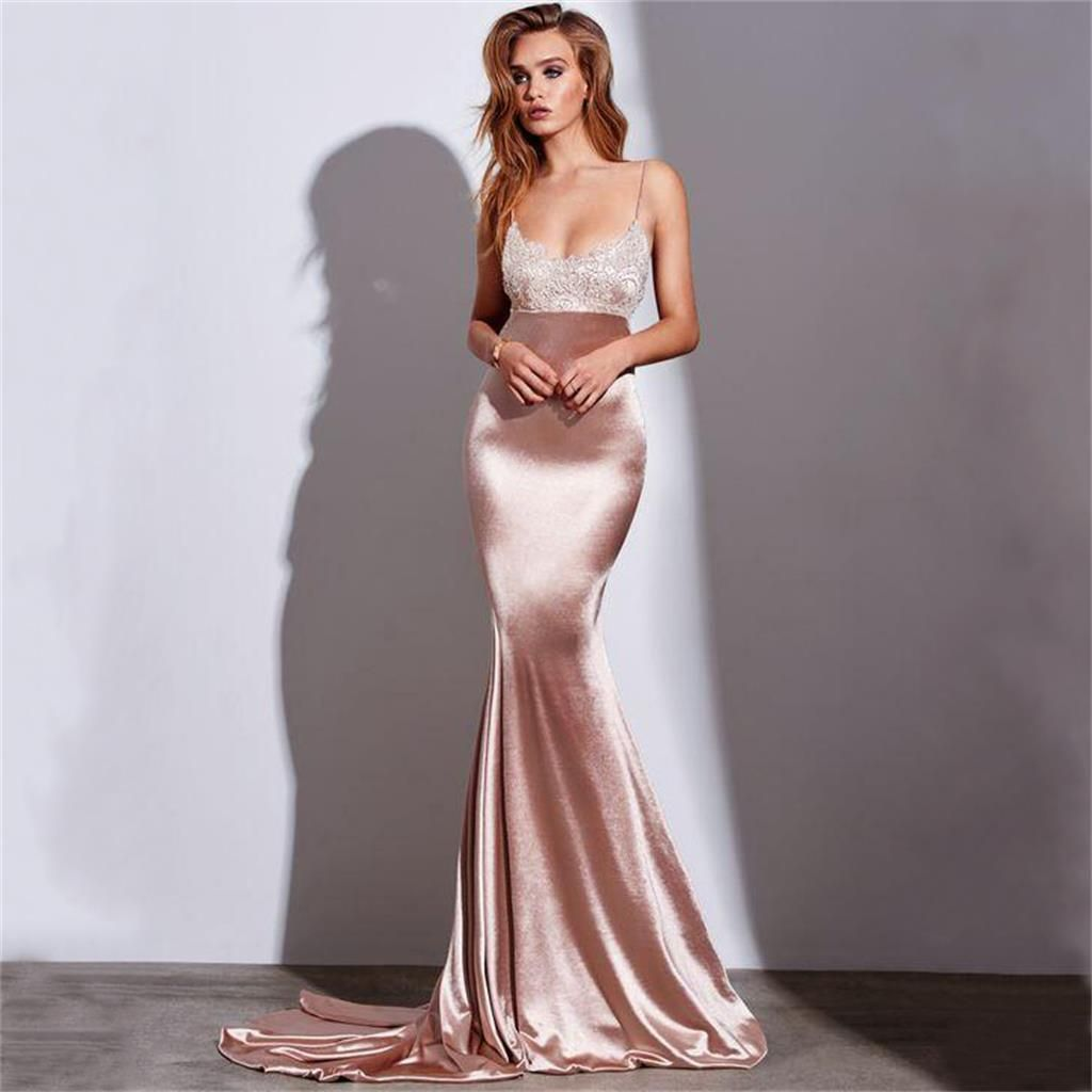 4eb7ce4e53e9 Spaghetti Straps Simple Sexy Lace Formal Mermaid Prom Dresses, Party Dresses,HS154  ...