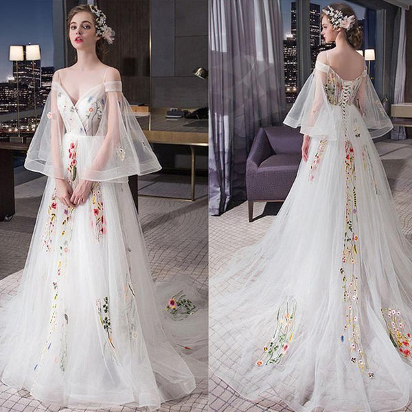 Charming Unique Off the Shoulder Long Sleeves Lace Up Long Prom Dresses,HS160