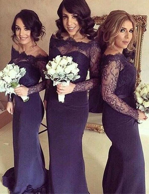 Elegant Bridesmaid Dress, Lace Top Bridesmaid Dress,Long Sleeve Bridesmaid Dress,Mermaid Bridesmaid Dress, Cheap Bridesmaid Dress, PD17