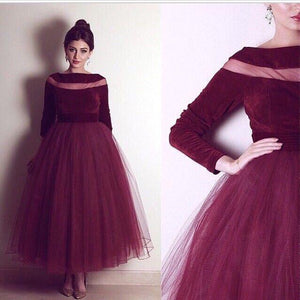 long sleeves tea-length tulle charming homecoming dress 2018, BD39869