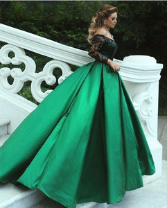 a-line applique prom dress off the shoulder long sleeve evening dress ball gowns wedding dress,HS185