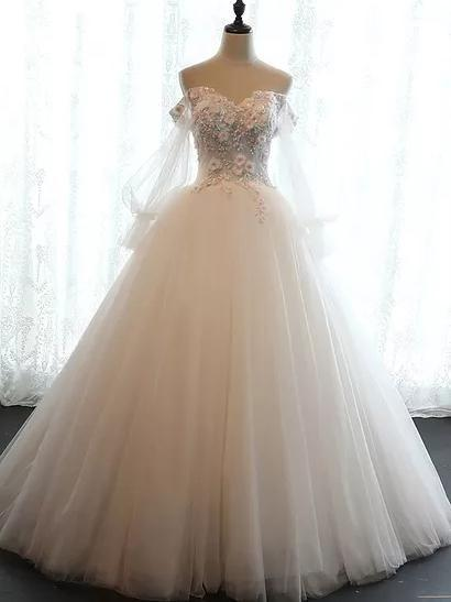 Chic applique Wedding Dresses Off-the-shoulder Ball Gown Lace Bridal Gown ,HS192