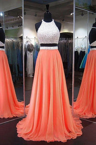 two pieces homecoming dress halter chiffon a-line backless long prom dress,HS198