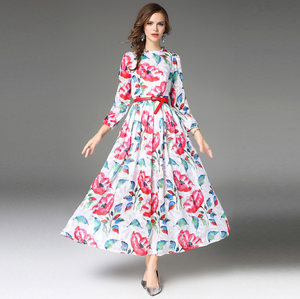 Printed Pleated Dress Autumn Long Sleeve New Women's Dress Casual Dress,CQ00015