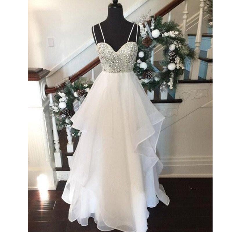 white prom dress, long prom Dress, spaghetti prom dress, fluffy prom dress, cheap prom dress, BD461