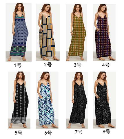 Fashion Bohemian Dresses Spaghetti Straps Summer Beach Dresses