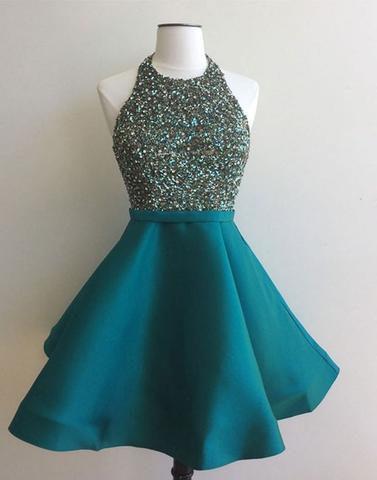teal beaded short cheap halter charming homecoming dress, BD3905