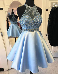 light blue homecoming dress, short prom dress, beaded homecoming dress, A-line homecoming dress, BD39010
