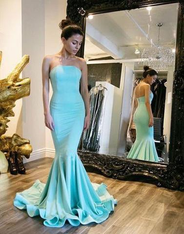 blue strapless mermaid long prom dress, formal evening dress, PD45680