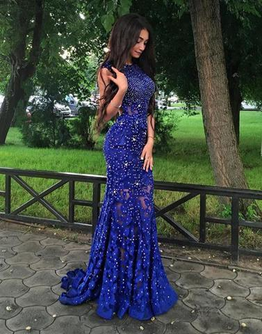royal blue prom dress, lace prom dress, beaded prom dress, open back prom dress, mermaid prom dress, BD2646