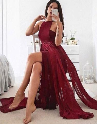 sexy halter chiffon long 2018 prom dress with slit,PD2259