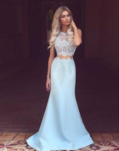 long prom dress, two pieces prom dress, light blue prom dress, cheap prom dress, mermaid prom dress, BD2645