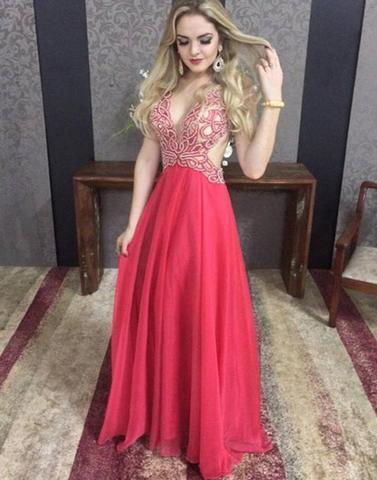 red open back v-neck long sexy prom dress, 2018 evening gown, PD45677