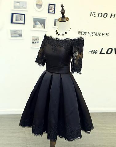 mid-sleeves off shoulder A-line black short homecoming dress, HD962