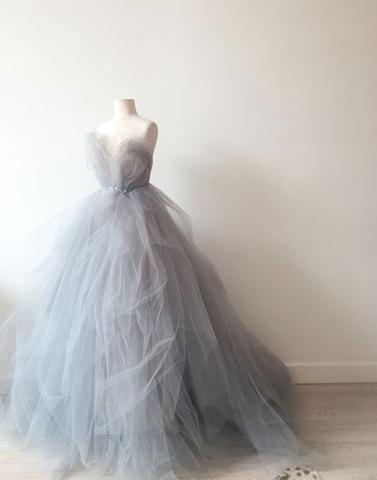 gray A Line tulle unique charming long prom dress,PD2158
