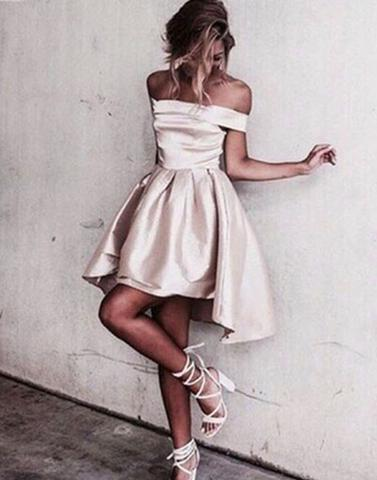 off shoulder short hi-lo satin homecoming dress, BD39001