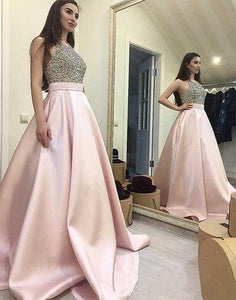 halter A-line beaded top long prom dress, satin evening gown, PD45679