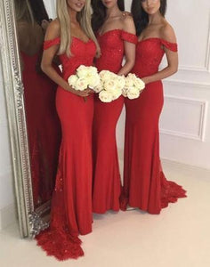 red off-shoulder long cheap Bridesmaid Dress,Elegant Bridesmaid Dress, BD1647