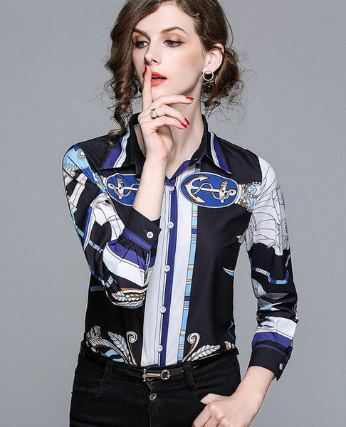 Fashion Prints Business Women Blouses Long Sleeve Taple Button   Down Casual Women Shirts,CS0004