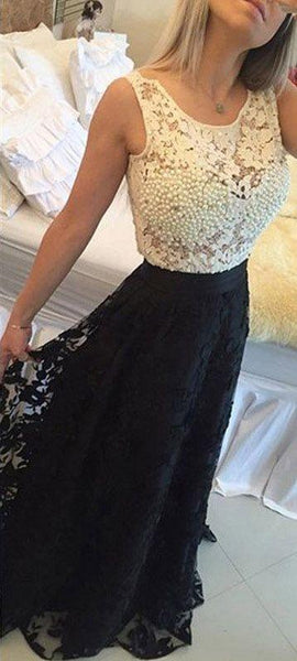 lace beaded long prom dress a-line scoop sleeveless black evening dress gowns,HS200