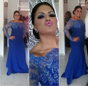blue prom dress, long sleeves prom Dress, mermaid prom dress, long prom dress, BD395