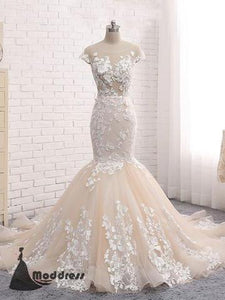 Backless Mermaid Scoop Lace Long Sexy prom dresses,Wedding Dresses,HS420