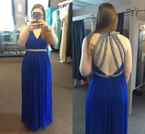 2018 Blue Long Cheap Prom Dresses A-line Formal V-neck Chiffon Sequins Backless Evening Dresses,HS265