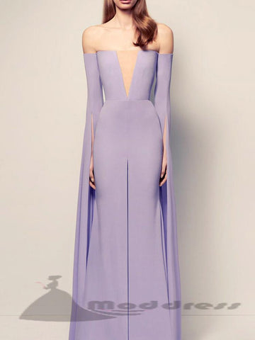 2018 Long Prom Dresses Lavender Off-the-shoulder Chic Evening Dress,HS329