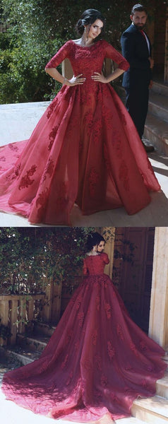 applique wedding dress long sleeve prom dress ball gowns with train,HS206