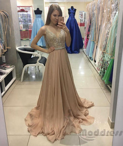 2018 chiffon sequins long prom dress v-neck a-line evening dress,HS344