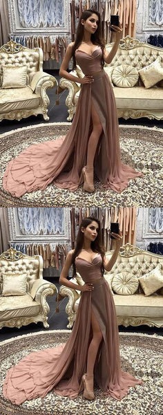 2018 dusty pink prom dress evening dress chiffon a-line high slit cocktail dress