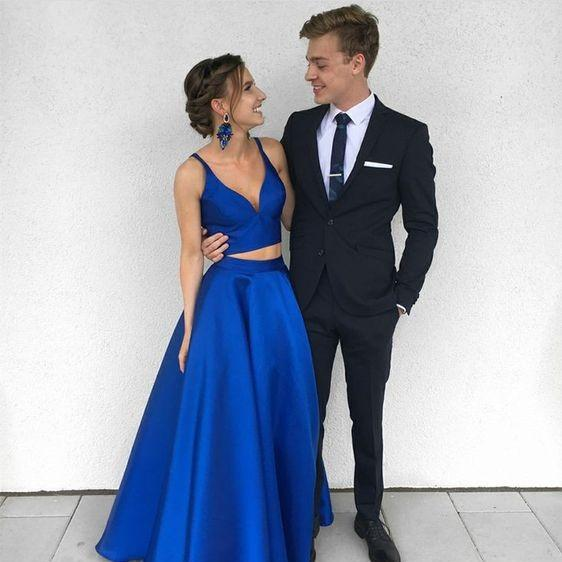 homecoming dress Two Pieces Prom Dress Royal Blue a-line evening dress,HS269