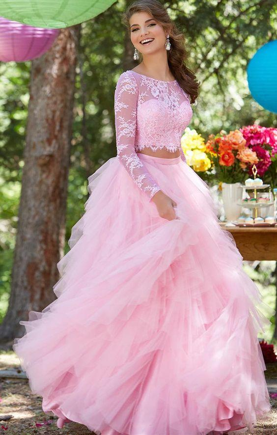 2018 princess prom dress, two piece long sleeve pink long evening dress,HS238