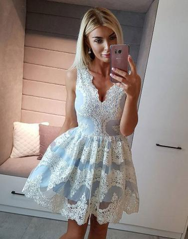 light blue v-neck cute lace appliques short homecoming dress, HD853