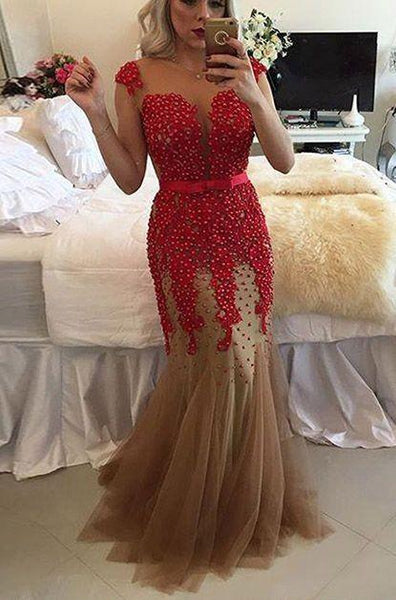 applique mermaid prom dress,cap sleeve tulle cheap evening dress with pearl,HS210