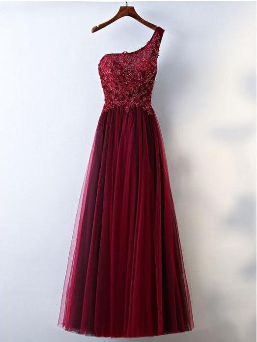 chic one shoulder prom dress beaded tulle long evening dress,HS216
