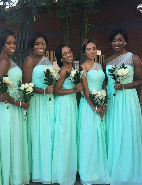 Fashion Bridesmaid Dress,One-shoulder Bridesmaid Dress,A-line Bridesmaid Dress,Chiffon Bridesmaid Dress, Long Bridesmaid Dress, PD21