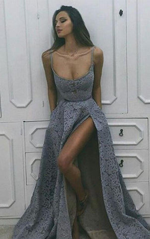 spaghetti straps prom dress lace sleeveless a-line long evening dress with high slit,HS226