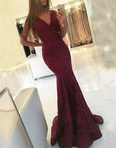 v-neck mermaid burgundy lace long evening dress, PD7683