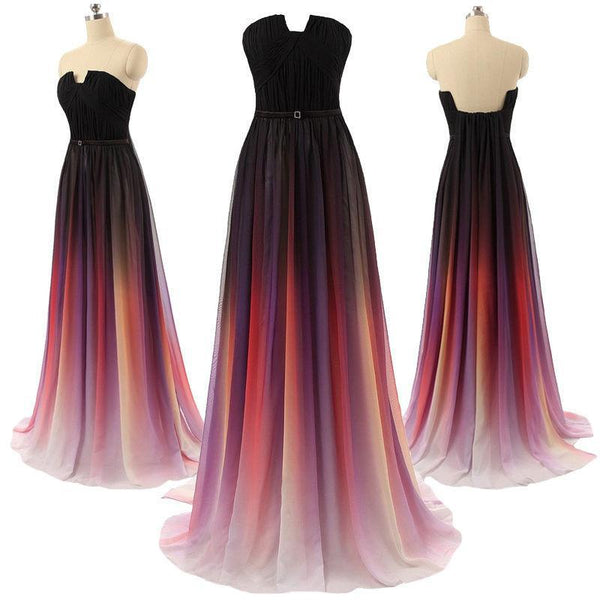 gradient prom dress, long prom dress, chiffon prom dress, strapless prom dress, charming evening dress, BD19