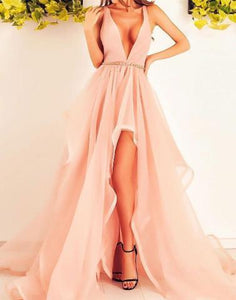 hi-lo pink organza  v-neck long prom dress, PD6841