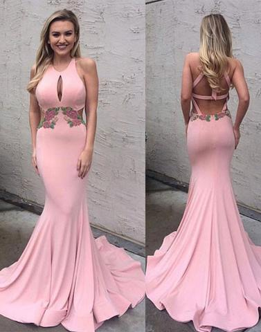 pink mermaid open back halter long formal evening dress, PD8372