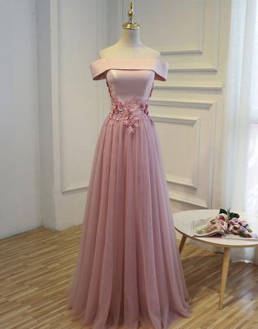 off shoulder pink long tulle A-line 2018 cheap prom dress, PD1500