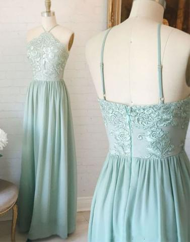 cheap sage green long lace top chiffon 2018 prom dress, PD5698