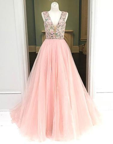 pink 2018 A Line long tulle v-neck beaded prom dress, PD2121
